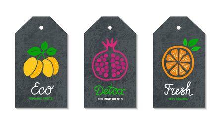 Plum, pomegranate, orange fruit tags. Eco, Detox, Bio lettering vintage text inscription. Black craft paper grunge background. Healthy, weight loss, natural meal graphic concept.  vector label set