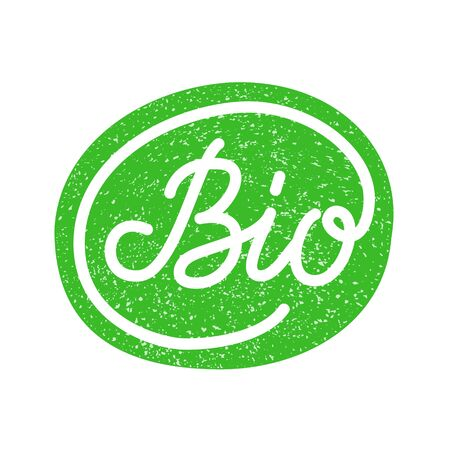 Green sticker Bio hand drawn lettering inscription. Cleaner production sign. Environmentally friendly product stamp. Waste manufacture mark. Organic healthy food label design. vector