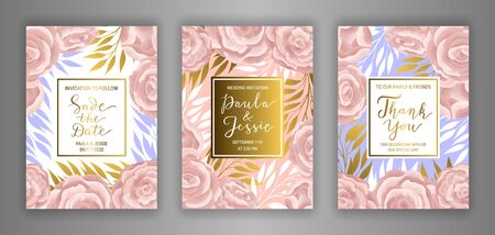 Pastel coloured wedding invitation card template vector set. Elegant blue eucalyptus branches, leaves, ranunculus flower background. Thank you, Save the date hand-drawn gold lettering inscription