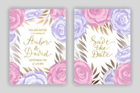 Pastel coloured vintage card template vector set. Elegant branches, leaves, ranunculus flower background. Floral brochure design. Hand drawn gold glitter phrase lettering inscription