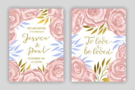 Pastel coloured vintage card template  vector set. Elegant eucalyptus branches, leaves, ranunculus flower background. Floral brochure design. Hand drawn gold glitter phrase To love and be loved Ilustração