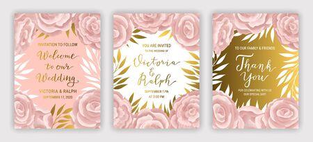 Pastel coloured vintage greeting card template  vector set. Elegant branches, leaves, ranunculus flower background. Floral brochure design. Hand drawn gold phrase lettering inscription