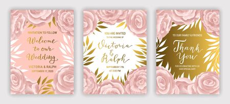 Pastel coloured vintage greeting card template  vector set. Elegant branches, leaves, ranunculus flower background. Floral brochure design. Hand drawn gold phrase lettering inscription