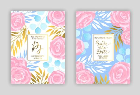 Vintage floral wedding invitation card template EPS 10 vector set. Elegant blue, gold branches, leaves, pink ranunculus flower pattern background. Save the date hand drawn lettering phrase inscription