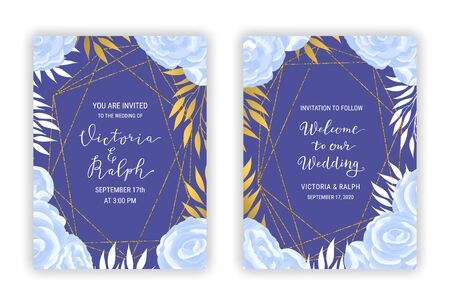 Invitation card templates with blue flowers, branches, golden leaves decor. Lettering phrase inscription. Vintage crystal gold glitter frame. Hand drawn texture background. EPS 10 vector illustration
