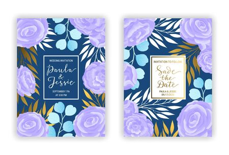 Wedding invitation card template EPS 10 vector set. Elegant blue eucalyptus branches, leaves, violet ranunculus flower background. Save the date hand-drawn gold lettering phrase