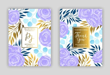 Wedding invitation card template EPS 10 vector set. Elegant blue, gold eucalyptus branches, leaves, violet ranunculus flower background. Thank you hand-drawn lettering phrase