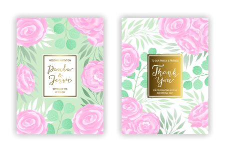 Floral wedding invitation card template EPS 10 vector set. Elegant pastel green branches, leaves, pink ranunculus flower pattern background. Thank you hand-drawn lettering phrase inscription