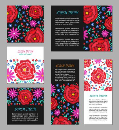 Embroidery style flyer set with bright colorful flower and leaf pattern. Ethnic ornamental blanks. Rustic design brochure collection. EPS 10 vector. Clipping masks