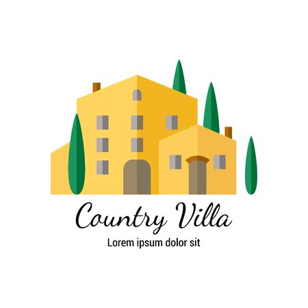 Country Villa flat icon. Italian style countryside house with cypress trees. EPS 10 vector illustration. Isolated on white.