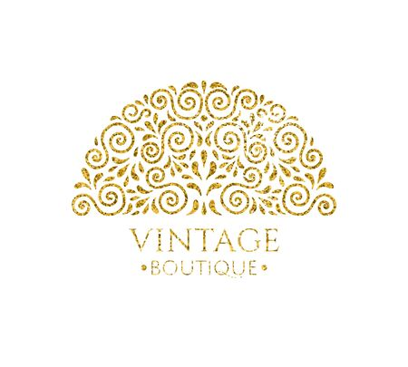 Elegant retro flourish decor. Vintage  design with gold glitter texture. Baroque style ornament for boutique; restaurant; cafe; flower shop emblem. EPS 10 vector illustration. Clipping mask. Illustration