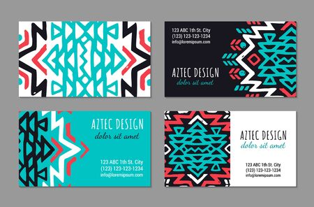 Aztec colorful hand-drawn ornamental visiting card template. American indian leaflet design. Tribal decorative pattern. Ethnic ornate background. Vintage style flyer. EPS 10 vector brochure set.