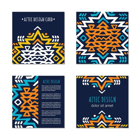 Aztec colorful hand-drawn square ornamental card template. American indian leaflet design. Tribal decorative pattern. Ethnic ornate background. Vintage style flyer. EPS 10 vector brochure set.