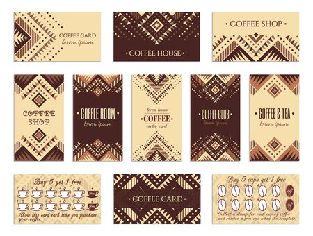 Visit card design set with loyalty program for coffee shops, tea houses and rooms in african style. Vertical, horizontal layouts. Ethnic design ornament. EPS 10 vector template collection. Illustration
