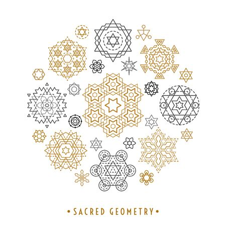 Sacred geometry style symbol set. Round composition of gold and silver sacral geometric outline signs isolated on the white background. Line art elements. EPS 10 linear design vector illustration. Illustration