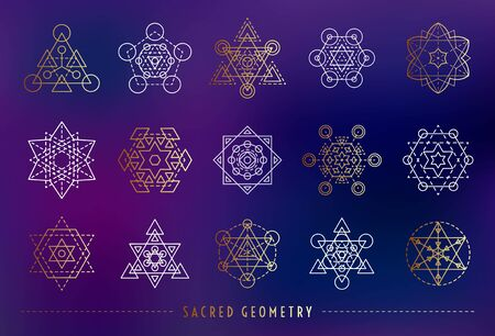 Sacred geometry style symbol set. Gold and white sacral geometric outline signs on the gradient mesh background. Line art elements. EPS 10 linear design vector illustration.