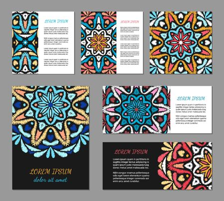 Embroidery style flyer set with bright colorful mandala. Ethnic ornamental blank. Oriental design concept. Eastern collection. EPS 10 vector. Clipping masks Illustration
