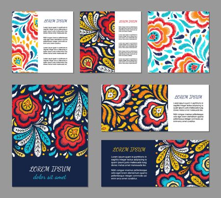 Embroidery style flyer set with bright colorful flower and leaf pattern of autumnal colors. Ethnic ornamental blanks. Rustic design brochures inspired by russian khokhloma ornament. EPS 10 vector. Clipping masks Illustration