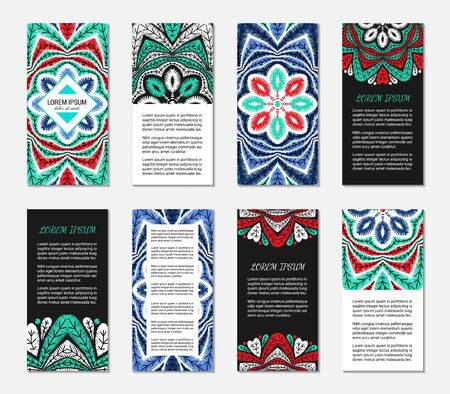 Embroidery style vertical flyer set with bright colorful mandala. Front and back pages. Ethnic ornamental blank. Oriental design concept. Eastern collection. EPS 10 vector. Clipping masks Illustration