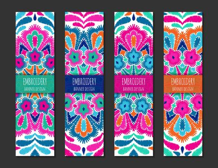 Embroidery style bright colorful vertical banner set. Ethnic design ornamental backgrounds. EPS 10 vector. Clipping masks