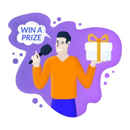 Promoter guy speaking into a microphone. Win a prize text in the speech bubble. Spokesman holding gift box with ribbon bow. Modern liquid shape background. Loyalty program vector digital illustration Illustration