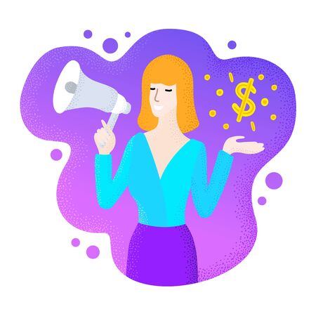 Blond sexy info business woman speaking into a megaphone. Promoter lady showing coin and dollar sign. Modern liquid shape background. Finance concept e-commerce digital flat design vector illustration