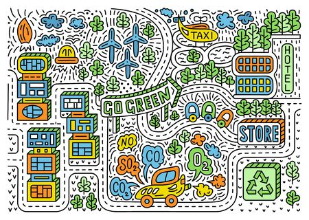 Futuristic smart city hand drawn doodle style illustration. Linear design with housing area, roads, trees, windmills, Go green lettering on the signboard. Ecological concept. EPS 10 vector background