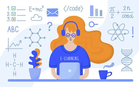 Young long red haired student girl in glasses, headphones and blue t-shirt sitting at the table with laptop, learning online. Hand-drawn flat EPS 10 vector illustration with dotted texture effect.