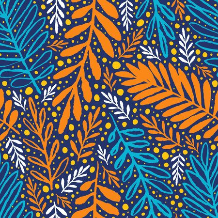 Hand drawn leaves with grungy texture. Floral seamless pattern of autumnal colors. Orange blue colorful background for textile prints, wallpapers, decorative wrapping paper. EPS 10 vector illustration