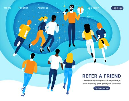 People holding hands, running together to a person speaking into a microphone. Referral program design concept. Modern hand drawn flat style illustration. Paper art background. Vector website template