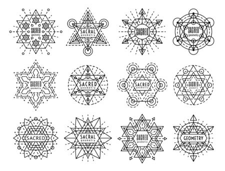 Sacred geometry style symbol set. Sacral geometric outline signs isolated on the white background. Line art occult design elements. Esoteric emblem concept.   vector linear illustration.