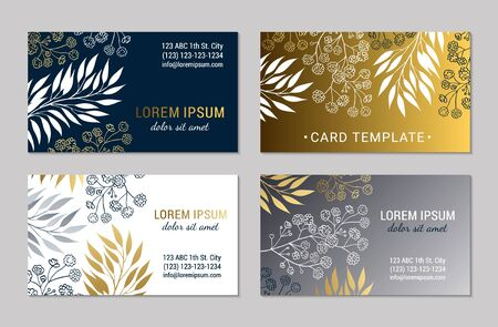 Business card design template set. Elegant eucalyptus branches, leaves, gypsophila flower ornate background. Black, white, gold and silver floral motives. Autumnal botanical   vector illustration Illustration
