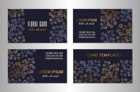 Visiting card template design set. Elegant gold and mauve colored gypsophila branches with flowers on the dark background. EPS 10 vector illustration.