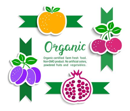 Plum, cherry, pomegranate, apple stickers with green ribbons. Organic hand-drawn lettering text inscription. Natural fruit product label. Healthy food concept. EPS 10 vector design illustration. 向量圖像
