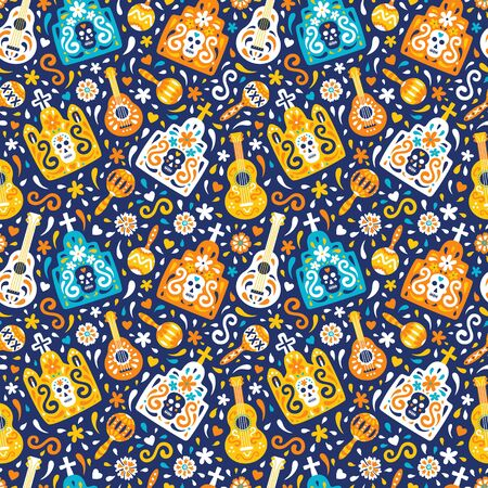 Latin american traditional Day of the Dead vector background of ethnic mariachi musical instruments, graves with skulls, crosses and flourish elements for fabric prints, wallpaper. illustration