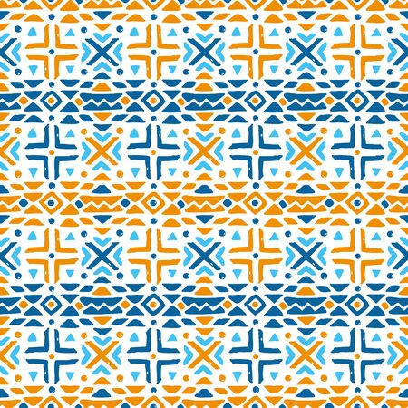 Aztec style seamless geometry pattern with tribal ornament. Ornamental ethnic background collection. Use for fabric prints, surface textures, cloth design, wrapping.   vector illustration. Illustration