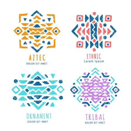 Colorful Aztec style ornamental geometric   set. Indian ornate design. Tribal decorative templates. Ethnic ornamentation symbols. Grungy shabby chic texture.   vector illustration Illustration