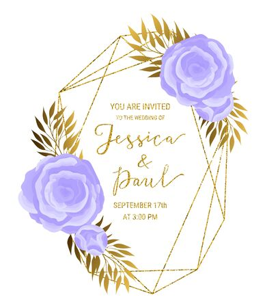 Vintage luxury style crystal gold glitter geometric textured frame for wedding invitation card design. Beautiful violet flowers, golden branches, leaves decor. EPS 10 vector illustration