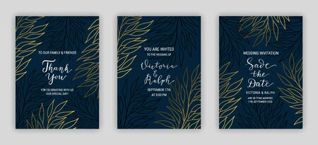 Dark wedding invitation card template EPS 10 vector set. Elegant golden eucalyptus branch decor. Thank you, Save the date hand drawn lettering phrase. Linear style gold leaves on black background