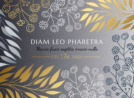 Invitation card template. Modern elegant chic design eucalyptus twigs, leaves, gypsophila flowers. Silver dotted texture background with white, gold, grey botanical decor. EPS 10 vector illustration