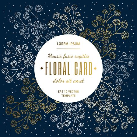 Invitation square card template. Elegant linear design twigs, gypsophila flowers. Floral pattern on dark dotted texture background with white, gold, grey botanical decor. EPS 10 vector illustration