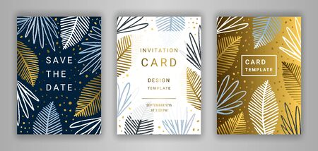 Wedding invitation card template EPS 10 vector set. Elegant tropic palm tree leaves background. Save the date phrase. Hand drawn exotic tropical branches. Black, white, gold, silver and blue decor.