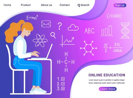 Young long red haired ponytail student girl in blue jeans and sneakers sitting in profile at the table with laptop, learning online. Website banner template. Hand-drawn flat EPS 10 vector illustration