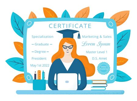 Young long red haired student girl in cat eye glasses, mantle, cap with tassel, sitting at the table with laptop, book, learning online. Hand-drawn flat vector illustration. Dotted texture effect Vectores