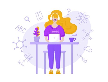 Young long red haired student girl in glasses, headphones and purple t-shirt sitting at the table with laptop, learning online. Hand-drawn flat EPS 10 vector illustration with dotted texture effect.