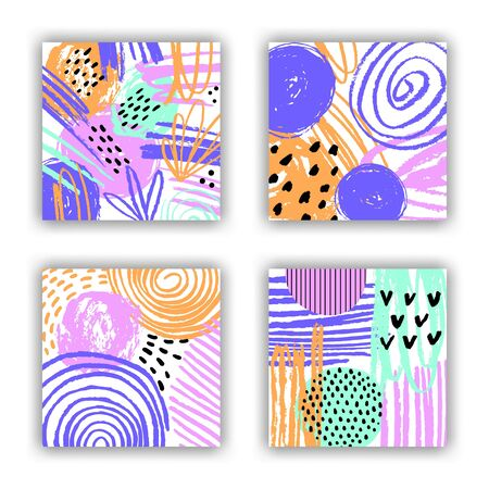Abstract bright colorful pattern card set of blots, spots, hatches and hand drawn textured elements. Trendy square flyer graphic design. EPS 10 vector artistic background illustration.