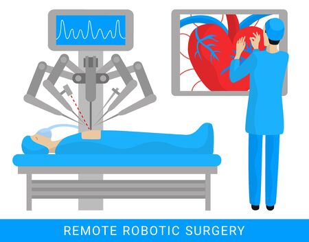 Remote control robotic cardiac surgery flat graphic design illustration. Operation on heart. Patient operated by a robot assistant apparatus. Virtual future medicine concept. EPS 10 vector background