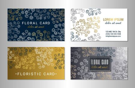Visiting card design template set. Elegant blooming gypsophila flower branches on the white, gold, silver and dark blue backgrounds. EPS 10 vector illustration.