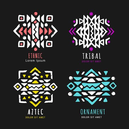 Colorful Aztec style ornamental hand drawn icon  set. American indian ornate design collection. Tribal decorative templates. Ethnic ornamentation. vector illustration. Illustration