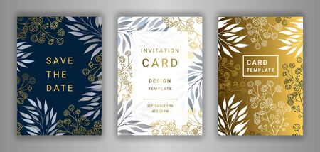 Wedding invitation card template EPS 10 vector set. Elegant eucalyptus branches, leaves, gypsophila flower background. Save the date phrase. Black, white, gold decor. Illustration